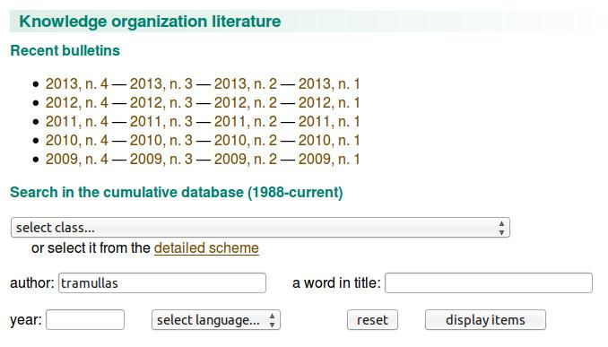 Interfaz de búsqueda en KO Literature