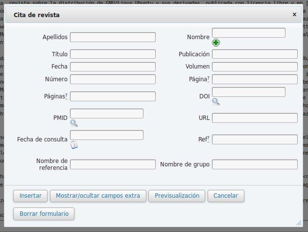 Añadiendo referencias desde la opción Cita de la barra de edición