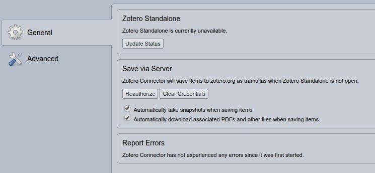 Zotero for Chrome configurado para conectar con zotero.org